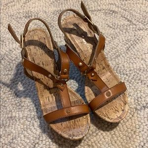 Women's Brown Strappy Sandal Wedges 7